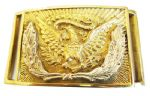 US Silver Wreath Rectangular Belt Buckle